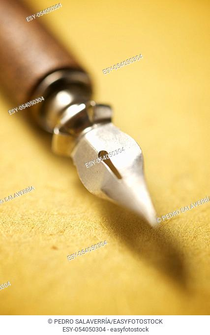 Nib pen for calligraphy on a handmade paper