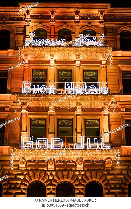 Christmas lights with writings in different languages, facade, Hamburger Hof, Jungfernstieg, Hamburg, Germany