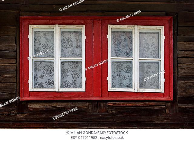 Windows of a traditional log cabin, Orava region, Slovakia