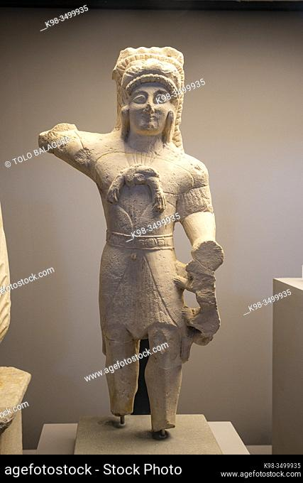 statue of the god Melqart, Heracles, probably from Cyprus, limestone, 5th cent. BCE, Museo Barracco, The Coliseum , Rome, Lazio, Italy ,