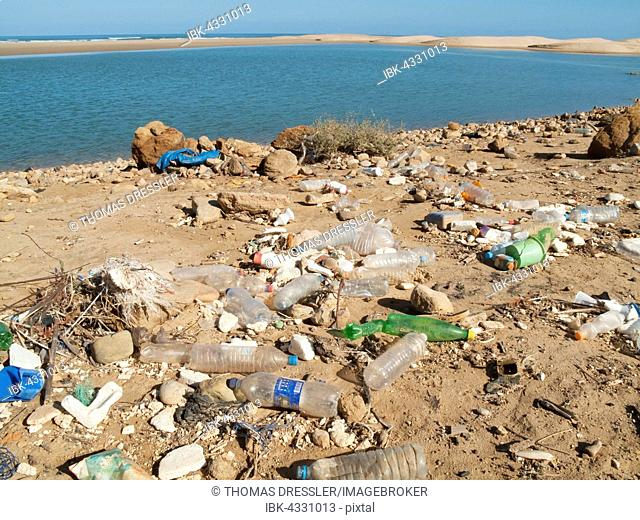 A polluted lagoon between Tan Tan and Tarfaya at the shore of the Atlantic Ocean in southwest Morocco