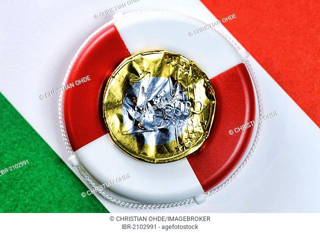 Euro coin made from crumpled foil on a life buoy and the Italian flag, symbolic image, Italian debt crisis