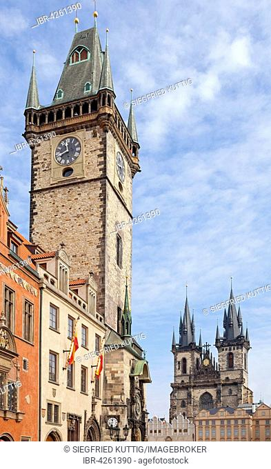 Old Town Hall and Tyn Church, Old Town Square, Prague, Czech Republic