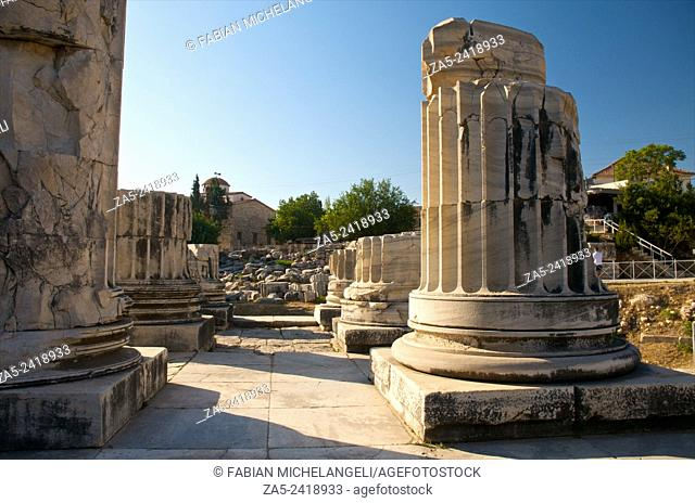Double row of columns in the Pronaos. The Apollo Temple of Didyma (Didymaion) 10th C. BC-4th C. BC, destroyed by Darius I of Persia in 494 BC and reconstructed...