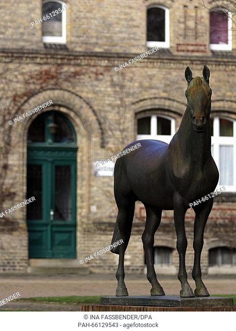 A horse statue can be seen on the site of the Warendorf State Stud in Warendorf, Germany, 24 February 2016. The environmental committee of the North...