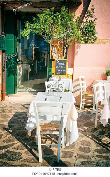 VENICE, ITALY - February 18th. 2017: Restaurants and Bars near Piazza San Marco - the main public square of Venice, Italy on February 18th. 2017