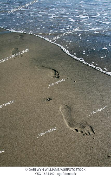 person's footprints in sand on beach coast by sea
