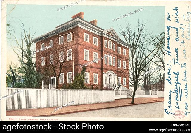 Chase Mansion, Annapolis, Md. Detroit Publishing Company postcards 9000 Series. Date Issued: 1898 - 1931 Place: Detroit Publisher: Detroit Publishing Company