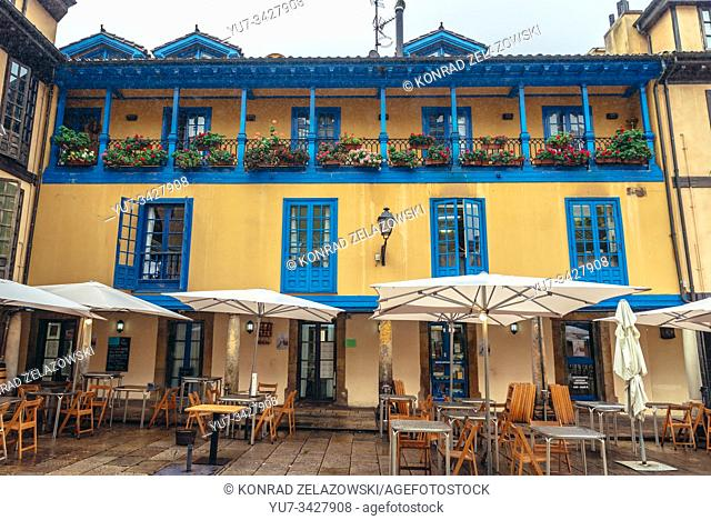 Casa Ramon restaurant on Plaza del Fontan - small square on the Old Town of Oviedo in Asturias region, Spain