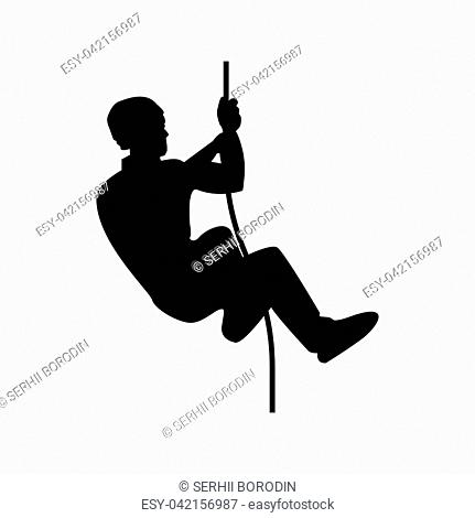 Rock climber icon black color vector illustration flat style simple image