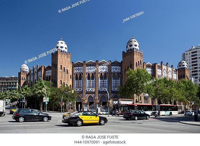Avenue, Bullfighting, architecture, Barcelona, Catalonia, gran via, monumental, Moorish, skyline, Spain, Europe, taxi, touristic, travel