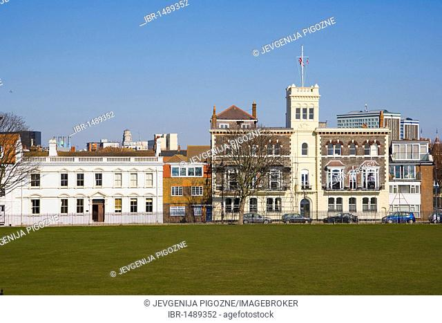 Pembroke Road with Royal Naval Club and Royal Albert Yacht Club from King's Bastion, Old Portsmouth, Hampshire, England, United Kingdom, Europe