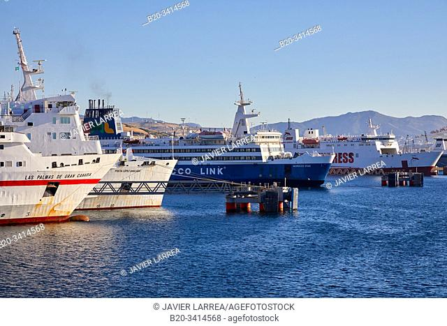 Ferry between Tangier Morocco and Algeciras Spain, Port of Tangier MED, Strait of Gibraltar, Tangier, Morocco, Africa