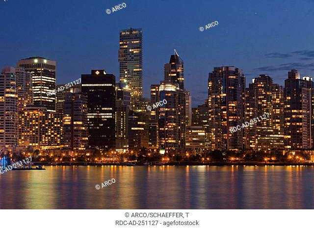 Skyline view from Stanley Park Vancouver British Columbia Canada