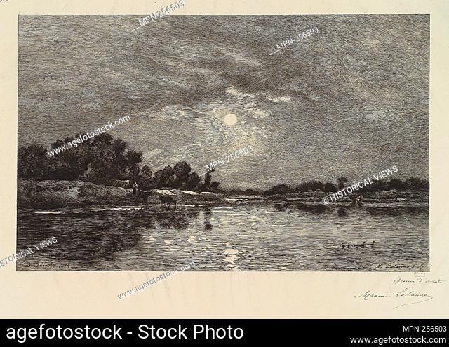 Claire de lune d'apres Charles Francois Daubigny (1st state). Avery, Samuel Putnam, 1822-1904 (Collector) Lalanne, Maxime (1827-1886) (Artist) Daubigny