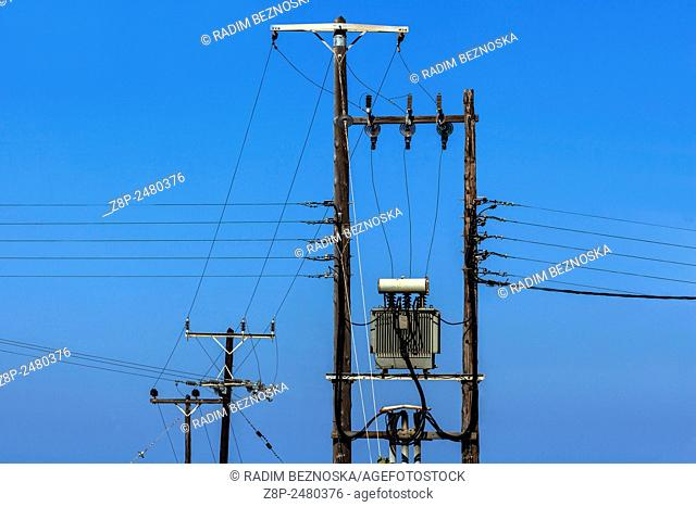 Electricity Transformer and wires, Firostefani, Santorini, Cyclades, Greek Islands, Greece