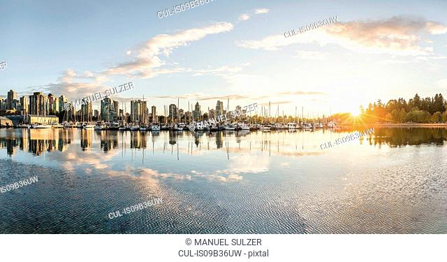Marina and city skyline at sunset, Vancouver, Canada