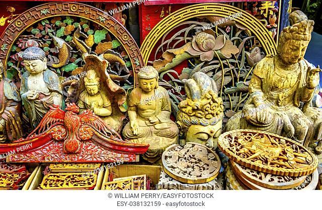 Chinese Replica Wooden Buddhas Decorations Panjuan Flea Market Decorations Beijing China. Panjuan Flea Curio market has many fakes