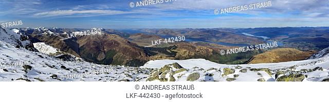 Panorama with view from Ben Nevis to Loch Linnhe, Ben Nevis, Highland, Scotland, Great Britain, United Kingdom
