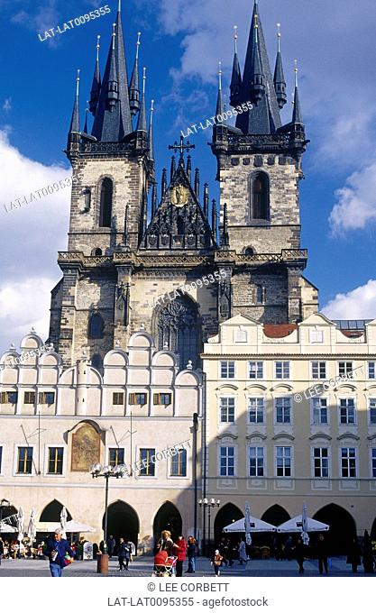 Tyn church. Old Town square. Two tall black pointed towers