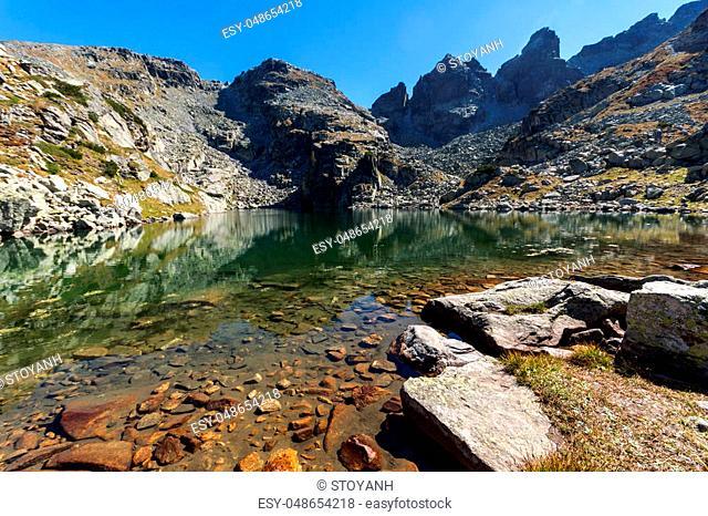 Amazing view of The Scary lake and Kupens peaks, Rila Mountain, Bulgaria