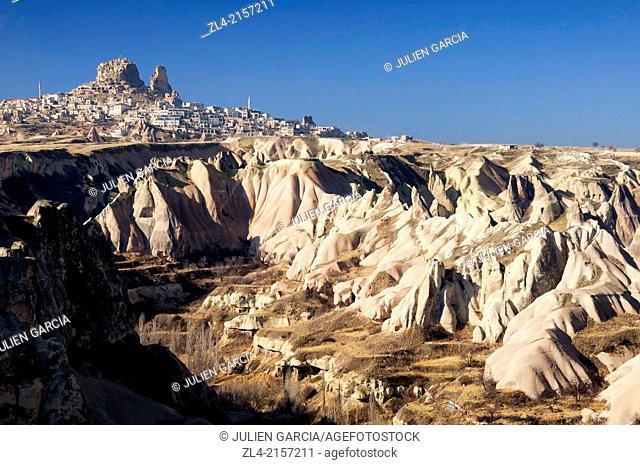 Uchisar village and the Pigeon Valley. Turkey, Central Anatolia, Nevsehir Province, Cappadocia, Goreme national park
