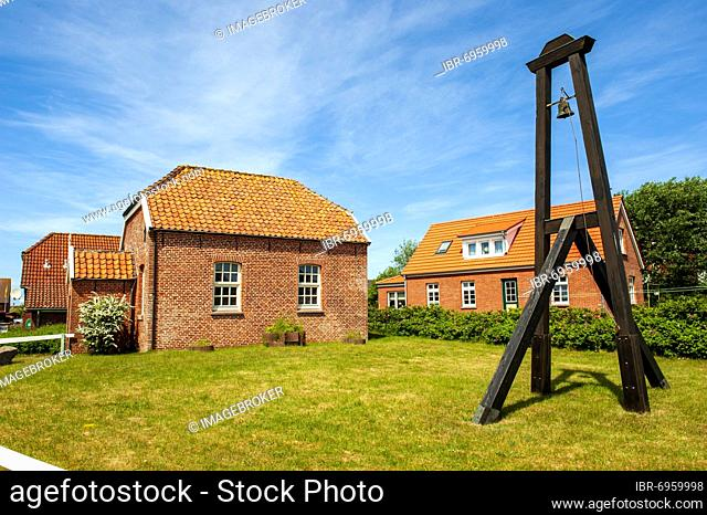 Old protestant island church with external church bell, Baltrum Island, East Frisia, Lower Saxony, North Sea, Germany, Europe