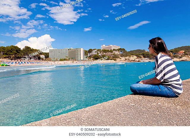Girl Looking at Paguera Beach, Mallorca, Spain