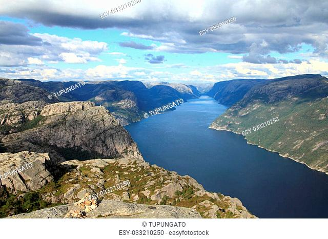 Norway, Rogaland county. Beautiful view of Lysefjorden from the trail to Preikestolen