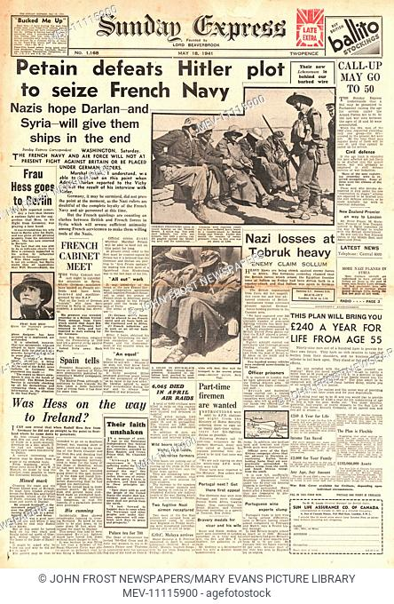 1941 front page Sunday Express Petain keeps control of French Navy