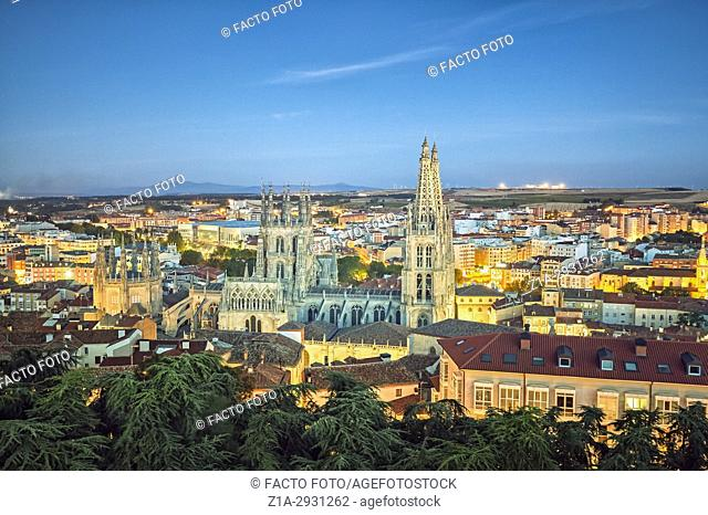 Burgos cathedral seen from the castle lookout point. Burgos. Castile and Leon. Spain