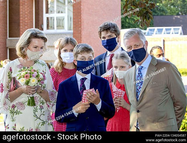 King Filip, Queen Mathilde, Princess Elisabeth, Prince Gabri?l, Prince Emmanuel and Princess El?onore of Belgium at the Cecilia residential care center in Alken