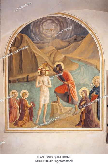 The Baptism of Christ, by Guido di Pietro (Piero) known as Beato Angelico, 1438 - 1446 about, 15th Century, curved fresco