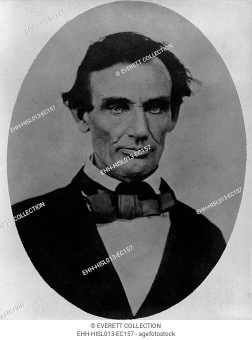 Portrait of Abraham Lincoln, taken in Pittsfield, Illinois, two weeks before the final Lincoln-Douglas debate in Lincoln's unsuccessful bid for the Senate