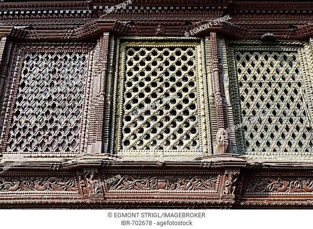 Historic window carved in wood, Swayambhunath, Kathmandu, Nepal