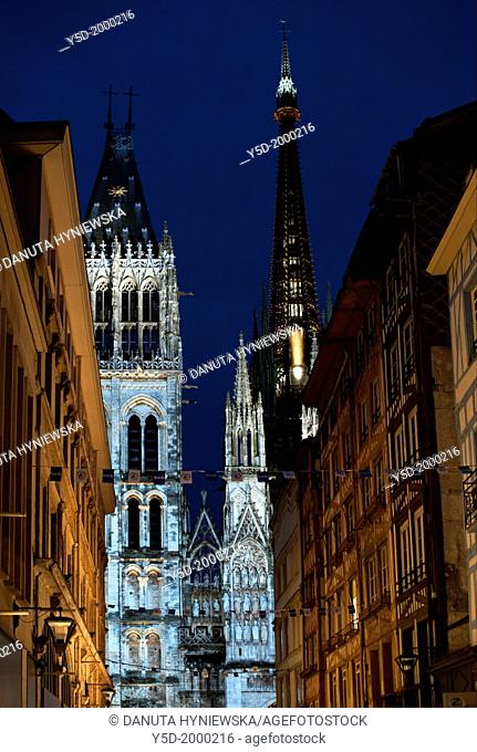 Notre Dame Cathedral in Rouen at night, Rouen, Upper Normandy, France, Europe