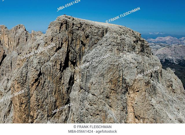 Langkofelgruppe, wall bars, Punta Grohmann, summit, Cinque Dita, the Dolomites, paraglider, aerial picture, high mountains, Trentino, Italy