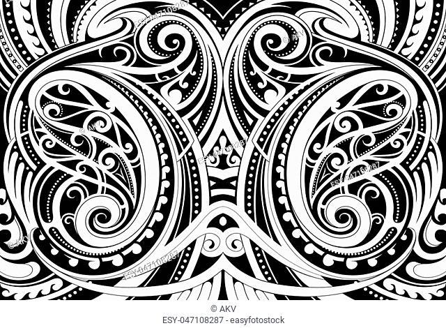 Maori style ethnic ornament. Good for decorative background