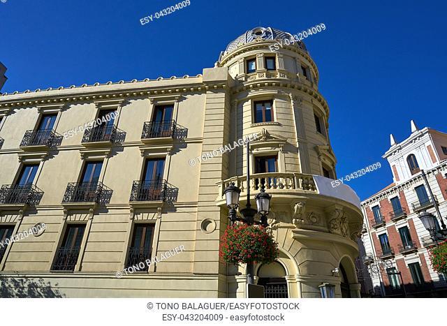 Granada Puerta Real facades in Spain at Andalusia Royal door square