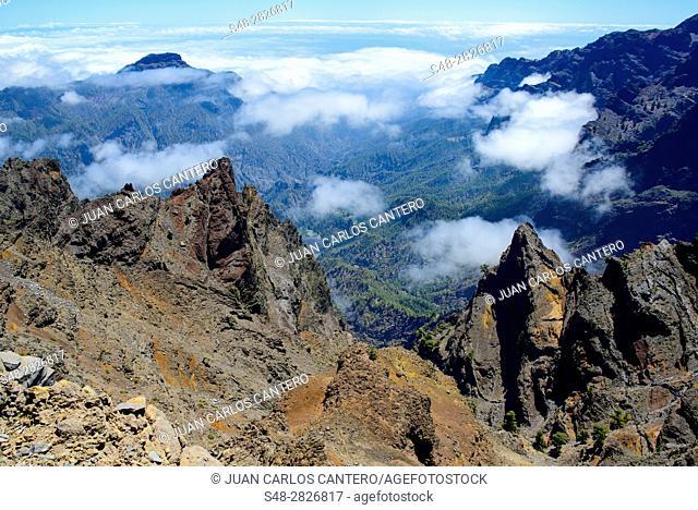 Caldera de Taburiente desde el Roque de los Muchachos. La Palma. Islas Canarias. España. Europa