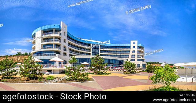 Odessa, Ukraine 05. 07. 2020. Black Sea Bugaz hotel and beach in Gribovka resort village near Odessa, Ukraine, on a sunny summer day