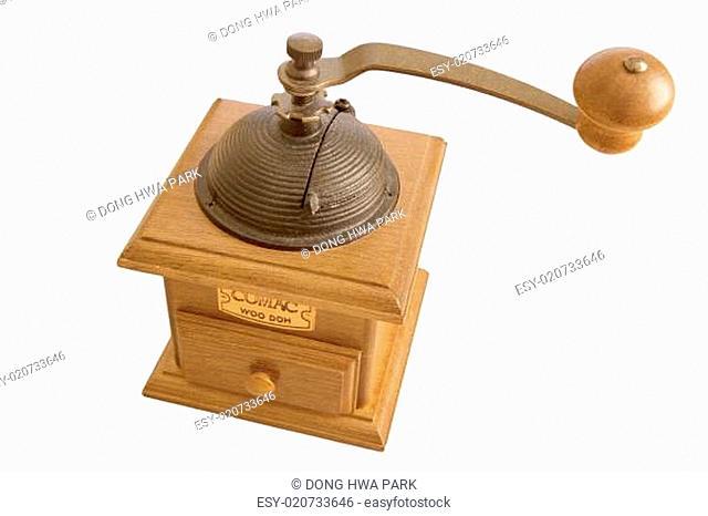 Vintage rustic wooden coffee grinder