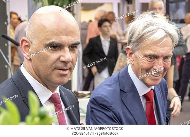 Swiss President Alain Berset and Marco Solari in Film Festival Locarno on 1 August 2018 on Switzerland's National Day in Ticino, Switzerland