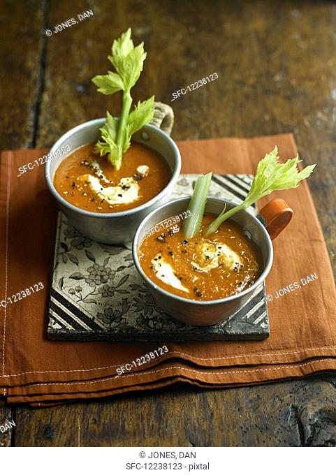 Bloody Mary tomato soup with celery