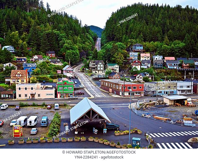 Ketchikan, Alaska and Schoenbar road leading into the forest
