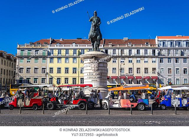 Equestrian statue of king John I of Portugal on a Praca da Figueira - Square of the Fig Tree in Baixa district of Lisbon, Portugal