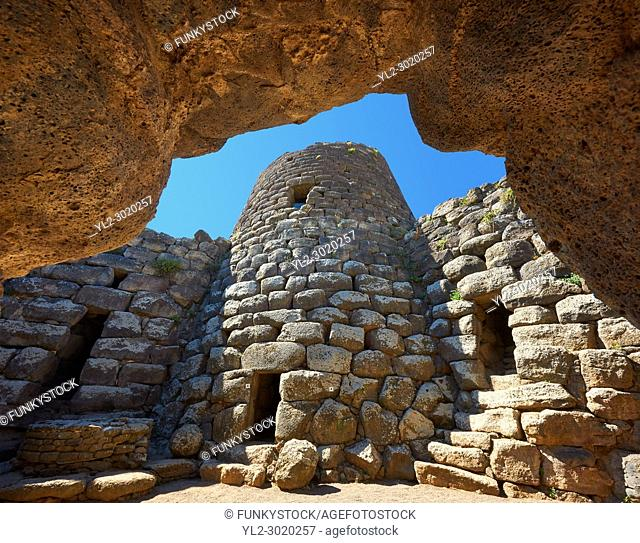Picture and image of the central courtyard and prehistoric magalith ruins of Santu Antine Nuraghe tower, archaeological site, Bronze age (19-18th century BC)