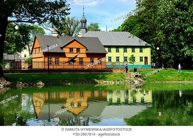 Open-air Museum of regional Wooden Architecture - integral part of Central Museum of Textiles, located near main artery of Lodz - Piotrkowska Street