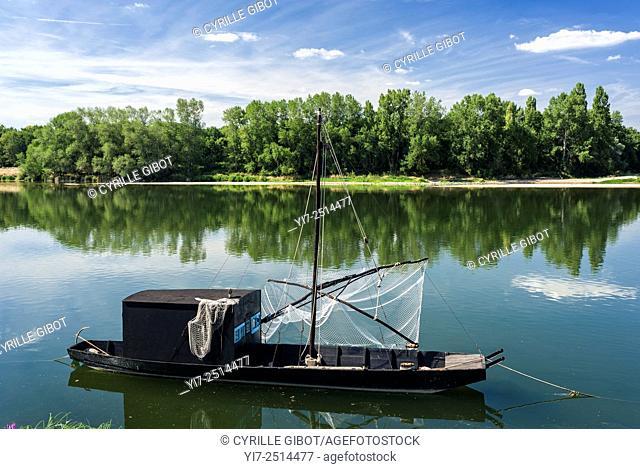 France, Indre et Loire, Loire Valley, Brehemont, traditional river boat gabare on the Loire river