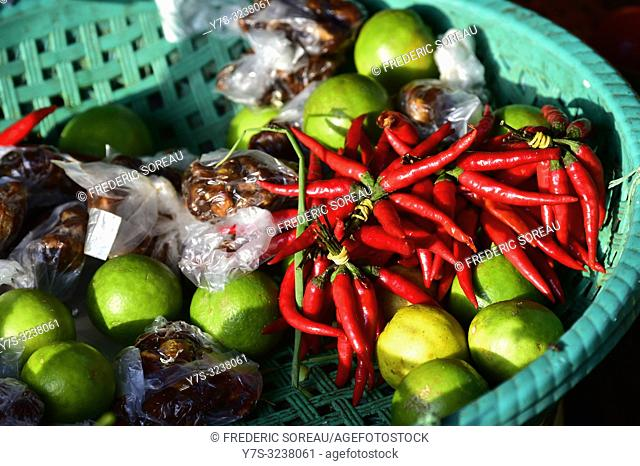 Red hot chili peppers, market,Phnom Penh,Cambodia,South east Asia